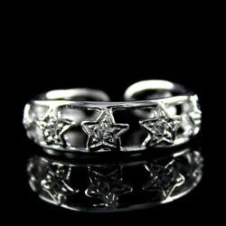Simulated Diamond Star Shaped Toe Ring 18k White Gold Over Sterling Silver