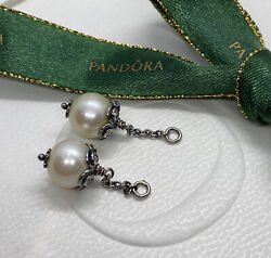 Pandora Cz And Freshwater Pearl Compose Earrings 290611p - Rare Authentic Ale