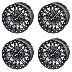 4 Pack 4/137 Tusk Teton Beadlock Wheel 14x7 4.0 + 3.0 Gun Metal/black Rear