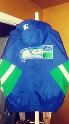 Vintage Seattle Seahawks Throwback Pullover Puffy Parka Starter Jacket Large New