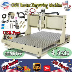 Usb 4axis Cnc 6090 Router Engraver Carving Drilling Machine 2.2kw Ball Screws