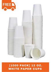 1000-pack 12 Oz. White Paper Disposable Hot Beverage Coffee Cups