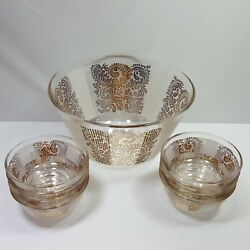 Salad Bowl Large 8 Small Glass Bowls Gold White Retro Collectible Paisley Heavy