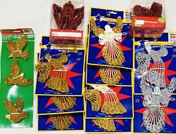 Holiday Time Lot 26 Glitter Die Cut Angel And Bird Ornaments Red Gold Silver New