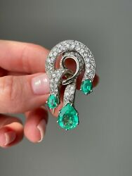 Antique French Art Deco Emerald And Diamond Clip Brooch