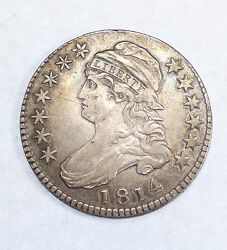 Bargain 1814 Capped Bust/lettered Edge E Over A Silver Half Dollar Xf O-108