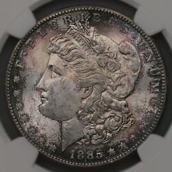 1885-s Morgan 1 Ngc Certified Ms62 Lightly Toned Us Minted Silver Dollar Coin