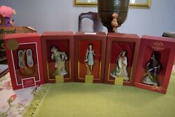 Set Of 5 Lenox Wizard Of Oz Ornaments Scarecrow Dorothy Lion Tinman Ruby Slipper