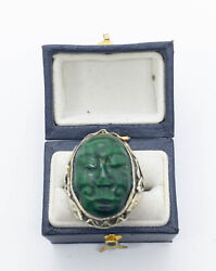 Rare Antique Chinese Carved Malachite Face Sterling Silver Ring Size 5