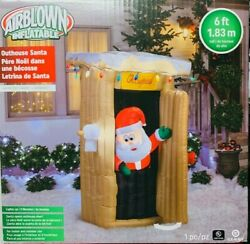 Rare New Gemmy 6 Ft Tall Christmas Santa Claus Outhouse Scene Inflatable