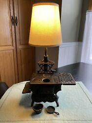 Rare Vintage Crescent Cast Iron Stove Lamp - Works Perfectly
