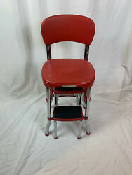 Vintage Cosco Red Folding 2-step Kitchen Counter Stool With Steel Frame