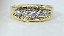 1.00 Ct 5 X Diamond Mens 9 Mm Band Ring Solid 14 K Yellow Gold See Video