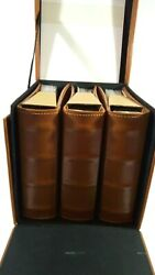 """Photo Album Set In Case Library-style Brown For 4 X 6"""" Photos - Burnes Of Boston"""