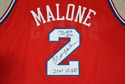 Autographed Philadelphia 76ers Moses Malone Authentic Jersey 56 Mitchell And Ness
