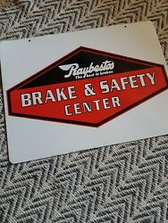 Double Sided Raybestos Brake And Safety Center Metal Hanging Sign