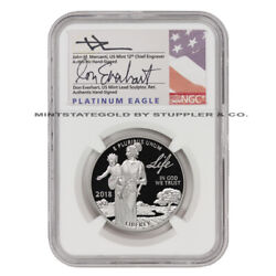 2018-w 100 Platinum Eagle Ngc Pf70ucam Early Releases Mercanti/everhart Label