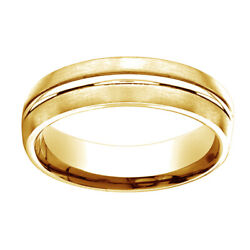 18k Yellow Gold 6mm Comfort Fit Center Cut Carved Design Band Ring Sz 5