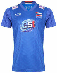 100 Authentic 2021 Thailand National Volleyball Team Jersey Shirt Player Blue