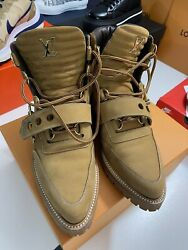Lv Louis Vuitton Creeper Ankle Boot 1a54do Suede Men's Gold Boots New Sz 7 Us
