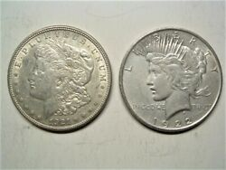 Lot 2 Morgan And Peace 90 Silver Dollars 1921 And 1922 Xf/au Nearly 100 Years Old