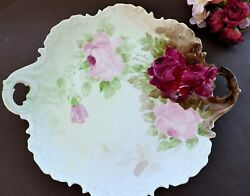 Serving Plate Hand Painted With Roses Rosenthal Monbijou Bavaria Germany