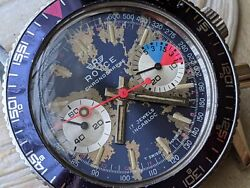 Vintage Royce 10 Atm Chronograph W/divers All Ss Casevaljoux 7730runs Strong