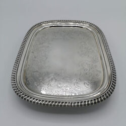 Antique Tray In Silver From The Regency Georg Iii. In England From 1814