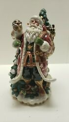 Fitz And Floyd Christmas Lodge Centerpiece Santa-large-new In Box