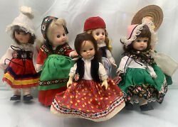 Lot Of 6 - 8 Vintage Ethnic Rubber Face Colorful Dolls - Some Vogue