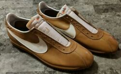 Nike Le Village Early 1970's Brown Leather Size 12.5 White Swoosh Super Clean