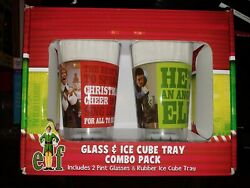 Elf Movie 2 16 Oz Pint Glass And Rubber Ice Cube Tray Combo Pack Will Farrell