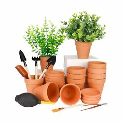 Nilos 12 Pack Terra Cotta Pots With Saucer - 12pcs 3 Inches Clay Pots With 7p...