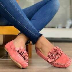 Womens Square Toe Casual Flat Slip On Loafers Flower Pumps Moccasins Comfy Shoes