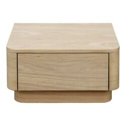 20 L Rustic Simple Solid Oak Desk Nightstand Rounded Front Corner Single Drawer