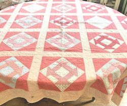 Antique 1890s Farmhouse Monkey Wrench Hand Made Quilt Ww389