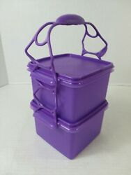 New Set Tupperware Square Away Purple Sandwich Keeper Container W/ Handle 1674