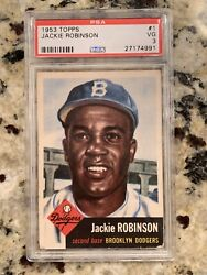 1953 Topps 1 Jackie Robinson Brooklyn Dodgers Hof Psa 3 Vg Centered