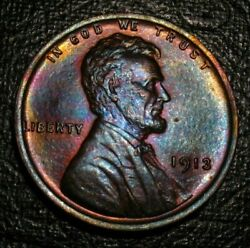 Old Us Coins Uncirculated Toned 1913 Lincoln Wheat One Cent Penny Bu Unc 1 C Gem