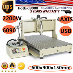 Usb Cnc 6090 Router 4 Axis Engraver Wood Carving Milling Machine 2.2kw Us Stock