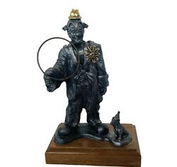 Michael Ricker Pewter Figurine Vtg Signed Circus Carnival Clown Hoop Dog Statue