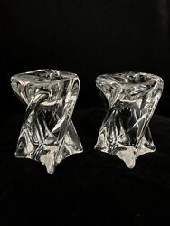 """St Louis France Crystal Isabelle Candlesticks Candle Holders 4.5"""" Tall"""