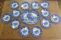 Rare And Stunnning 1900's Ridgways Turkey Flow Blue Platter And Plates