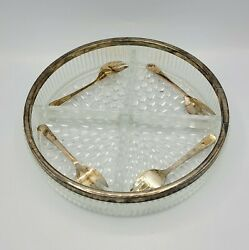 Vintage Lead Crystal 4 Divider Heavy Candy/relish Dish Silver Plated Sheffield