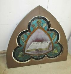 Vintage Stained Glass Window Topper With Bible From Church 42x38
