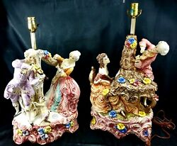 Capodimonte Figural Lamps Marked Pair Man Woman Victorian Era Musical Instrument