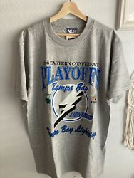 Vintage 90s Tampa Bay Lightning Shirt Large 1996 Playoffs Deadstock W/tags