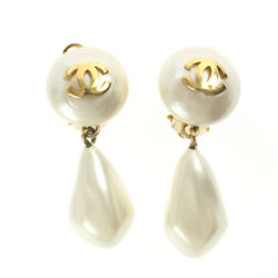 Earrings Coco Mark Pearl Swing Gold White 50mm X 15mm With Engraved