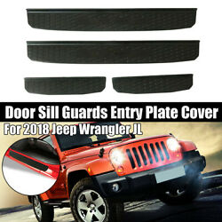 Door Sill Guard Scuff Plate Trim For Jeep/wrangler Jl 18-20 4dr Gladiator