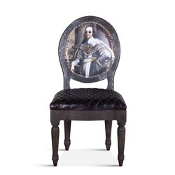 41 Victorian Dining Chair Vintage Humor Print Black Diamond Tufted Leather Seat